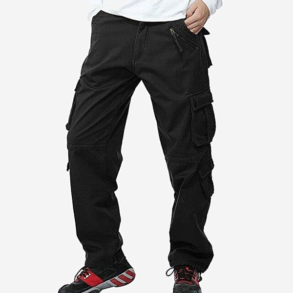 Fleece Military Cargo Pants Multi-pockets Baggy Mens Warm Black Cotton Casual Overalls Army Tactical Trousers Trend