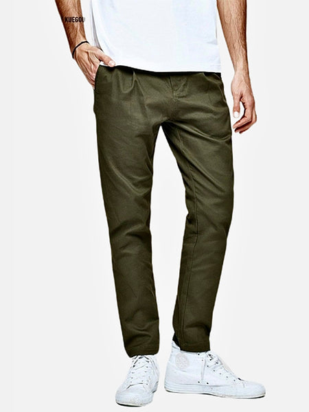 Vintage Khakis in Slim Fit      Casual Solid Army Green color Cotton Classic Long Slim Fit Straight Khaki Pants Men's Work Trousers Trend