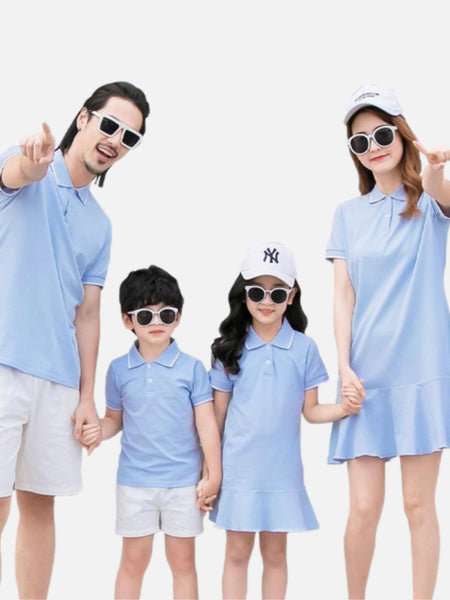 Family Match Outfits       Women girl light blue dress mother daughter dresses mens boy father son Light blue T-Shirts white short pants Matching clothing Trend