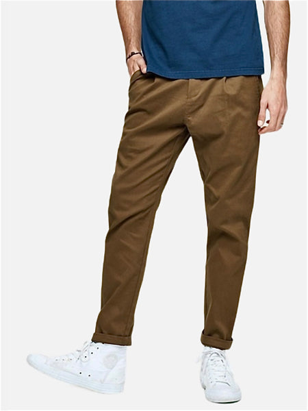 Vintage Khakis in Slim Fit      Casual Solid Dark khaki color Cotton Classic Long Slim Fit Straight Khaki Pants Men's Work Trousers Trend