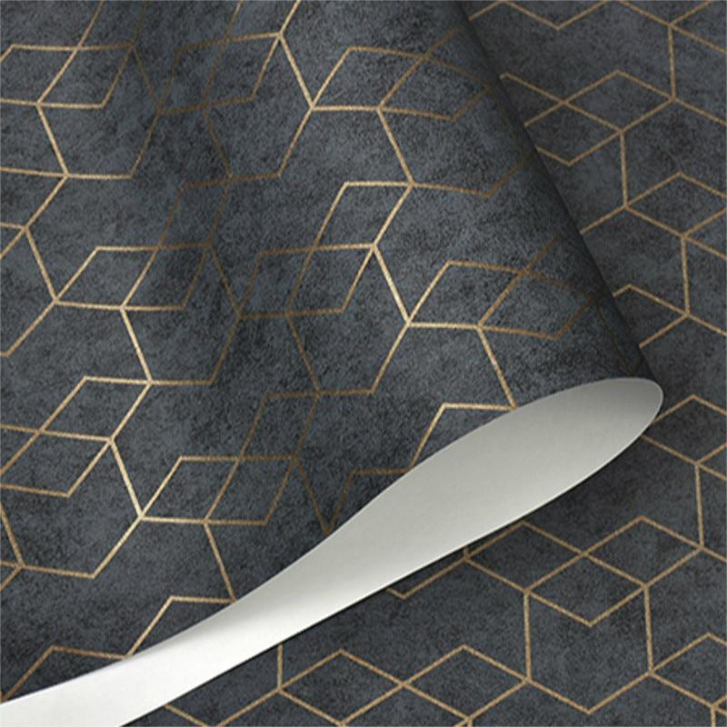Luxury Geometric Wallpaper Roll Black with Gold trim Wall Paper Modern Design Bedroom Living Room Background Home Wall Decor Detail