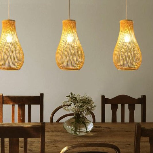 Creative Japanese bamboo pendant lights restaurant bar lamp personality tea room lamp garden wind hand-woven lamp Japan Home Decor Lighting Fixtures Accessories Style