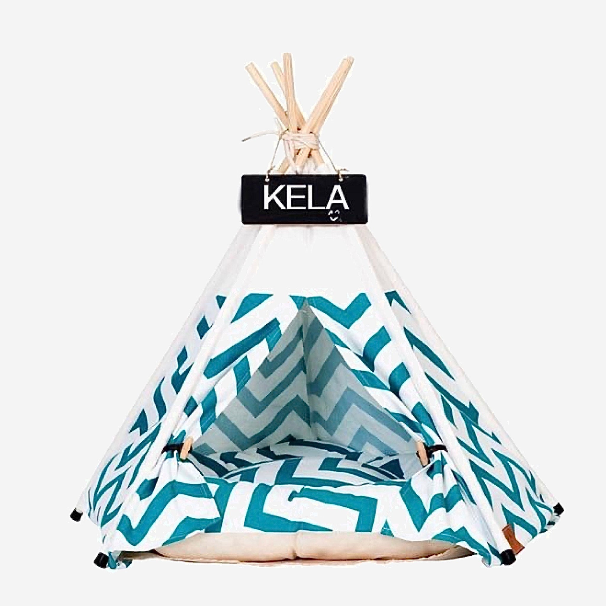 Teepee Pet Tent with Thick Cushion   House Cat Bed Portable for Dog Puppy Excursion Outdoor Indoor use Trend Green Stripe