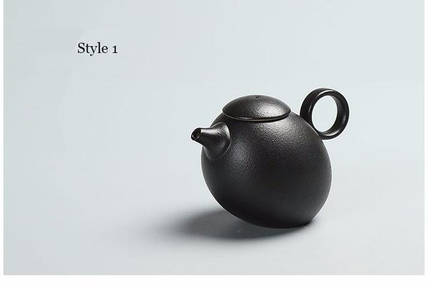 Japanese Chinese Black Kung Fu Teapot Japan Ceramic Pottery Tea Pot JPN Style Z