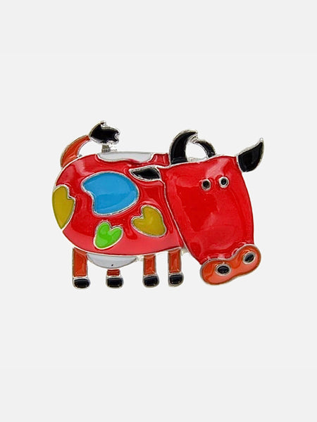 Enamel Pin Brooch      Red Enamel Cartoon Milk Cow Brooch Pin Brooch Jewelry Fashion Accessorize Jewellery Trend