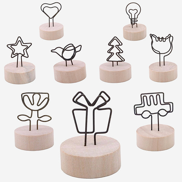 Iron Wood Photo Clip Frame 4cm   Round Creative wooden Photo Clips Memo Name Card Pendant Furnishing Articles Picture Frame DIY Decoration Style Trend