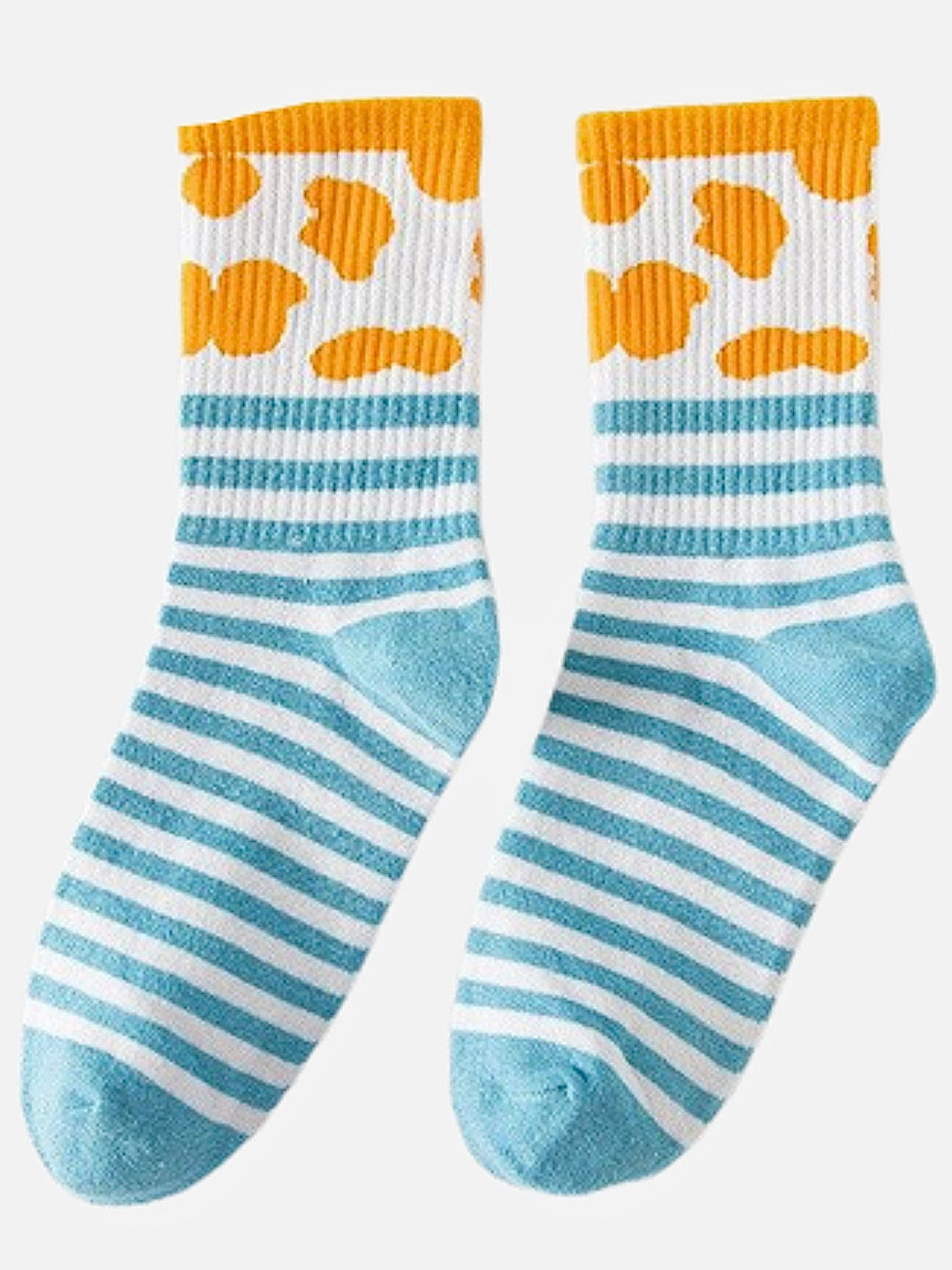 Rib Crew Socks      Cute Ribbed Cotton Light Blue Stripe White Cow Pattern print Street Fashion Cotton Socks footwear Style Trend