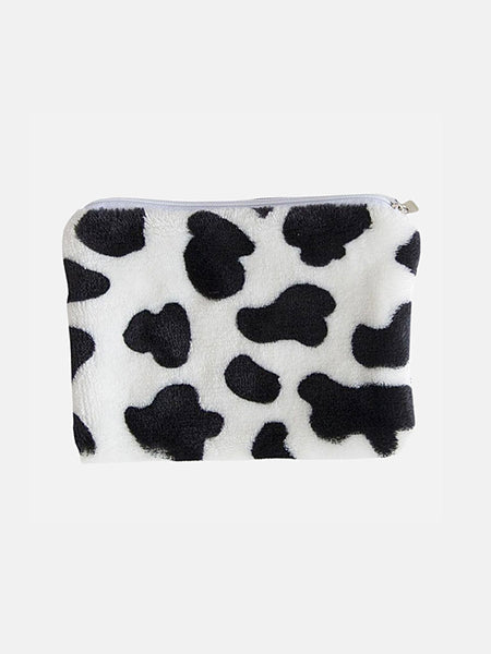 Mini Coin Purse        Cute Milk Cow print Money Change Plush Storage Bag Short Zipper Wallet Card Holder Purses Trend