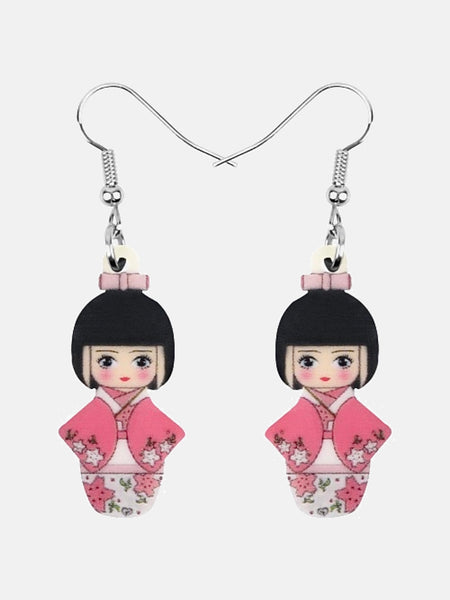 Japanese Geisha Girl Earrings        Cherry Blossom Pink Kimono Girl Doll Earrings Drop Dangle Jewelry Gift Japan Kawaii Jewellery Trend