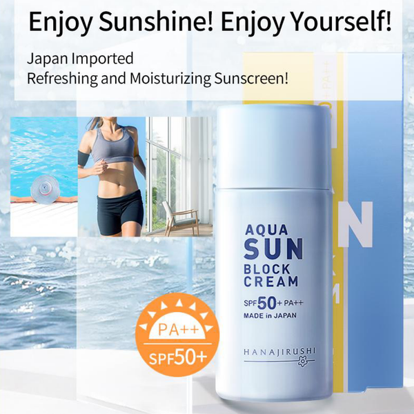 HANAJIRUSHI Japan Sunscreen Aqua Sun Block SPF 50 PA++ Sun Screen Japanese Ultra-Light Water-Resistant Texture Sun Cream Trend