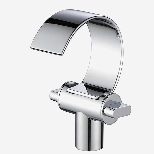 Deck Mount Waterfall Faucet   Brass Body Chrome Finish Flat Spout Faucets Cold & Hot Water Tap Basin Mixer Trend