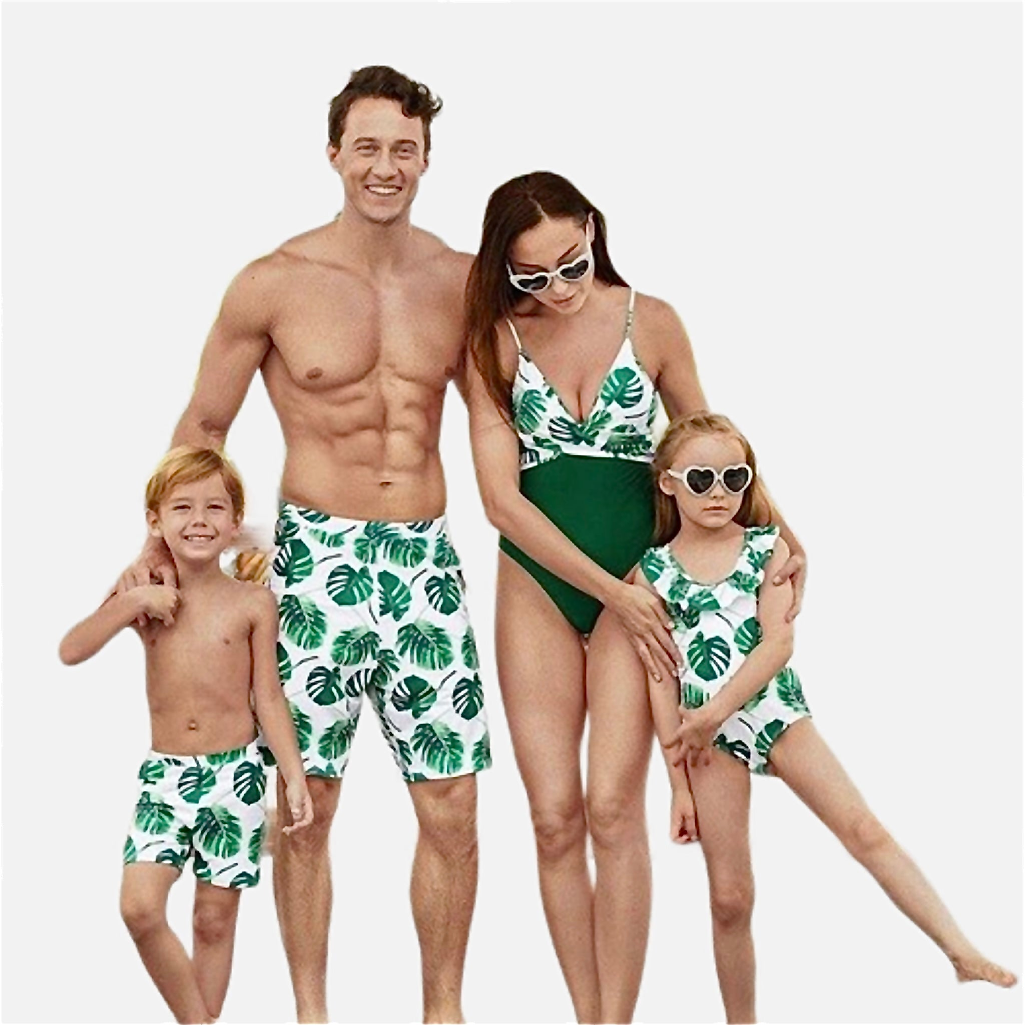 Tropical Match Swimwear       Banana leaf green white swimsuits swim shorts monokini Family matching outfits beachwear