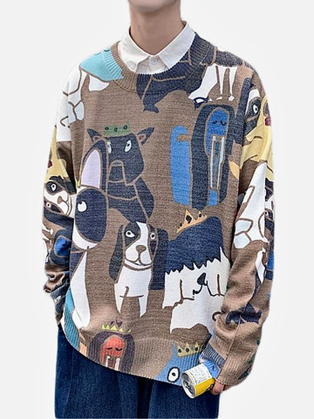 Crewneck Sweater     Casual Coffee color Cotton Wool Knitted with Cartoon print O-Neck Pullover Men's Sweaters Trend