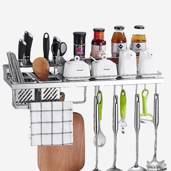 Wall Mounted Stainless Steel Shelf Organizer Storage Stand Holder For Knife Slice Spoon Duster Cloth Cutting Board Cruet Kitchen Trend