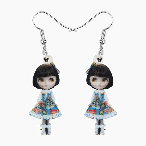 Acrylic Anime Lolita Japanese Girl Doll Earrings Drop Dangle Jewelry Gift Trend
