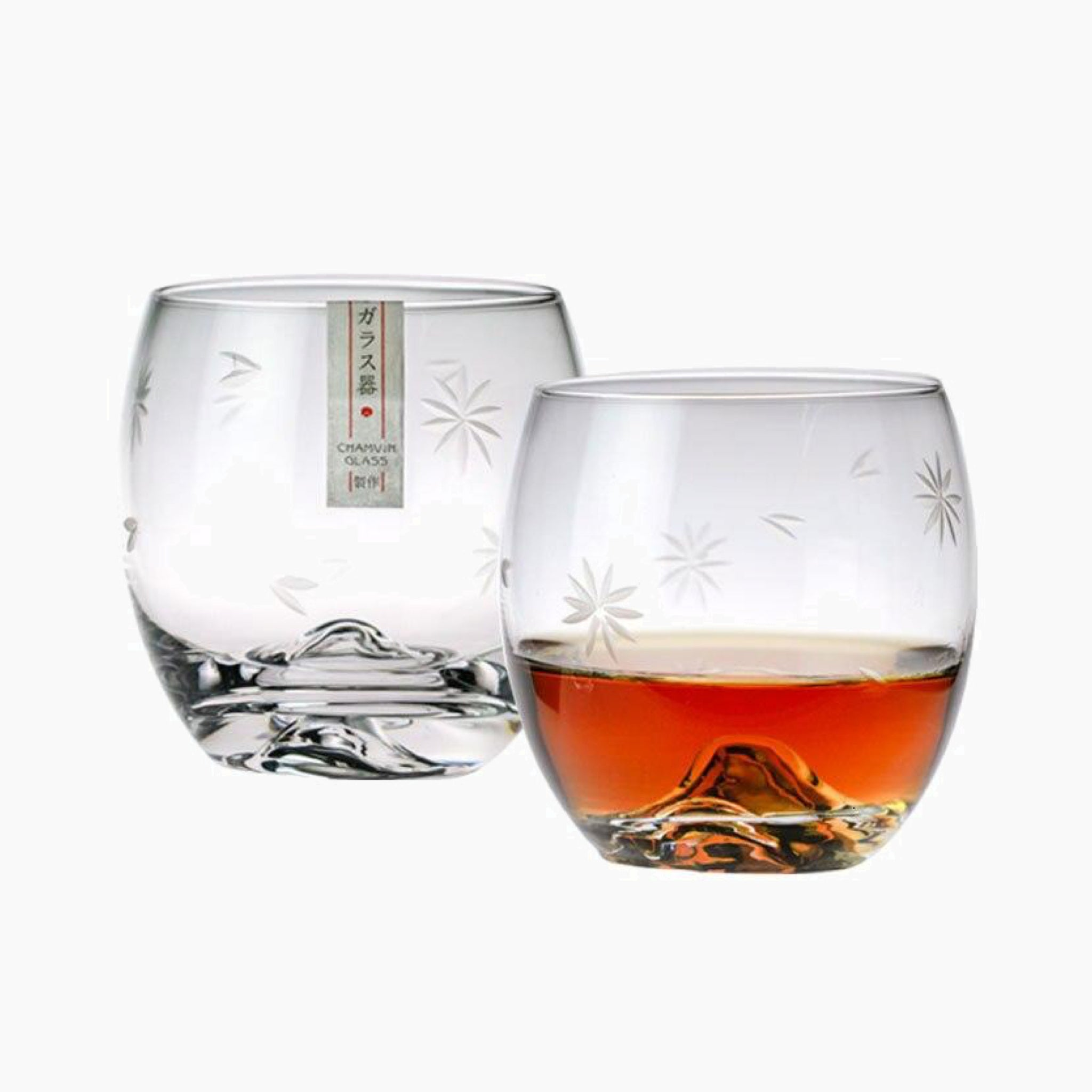 Japanese Mt. Fuji Whisky Glass Cup Ice Flower Design Transparent Lead-free Crystal Creative Brandy Rum Liquor Beer Glasses Japan Glassware Drinkware Trend