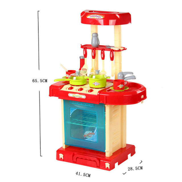 Pretend Play Red Kitchen Set Child Toy Gender Neutral Boy Girl Kids Minature Portable Cooking Sets Size Chart