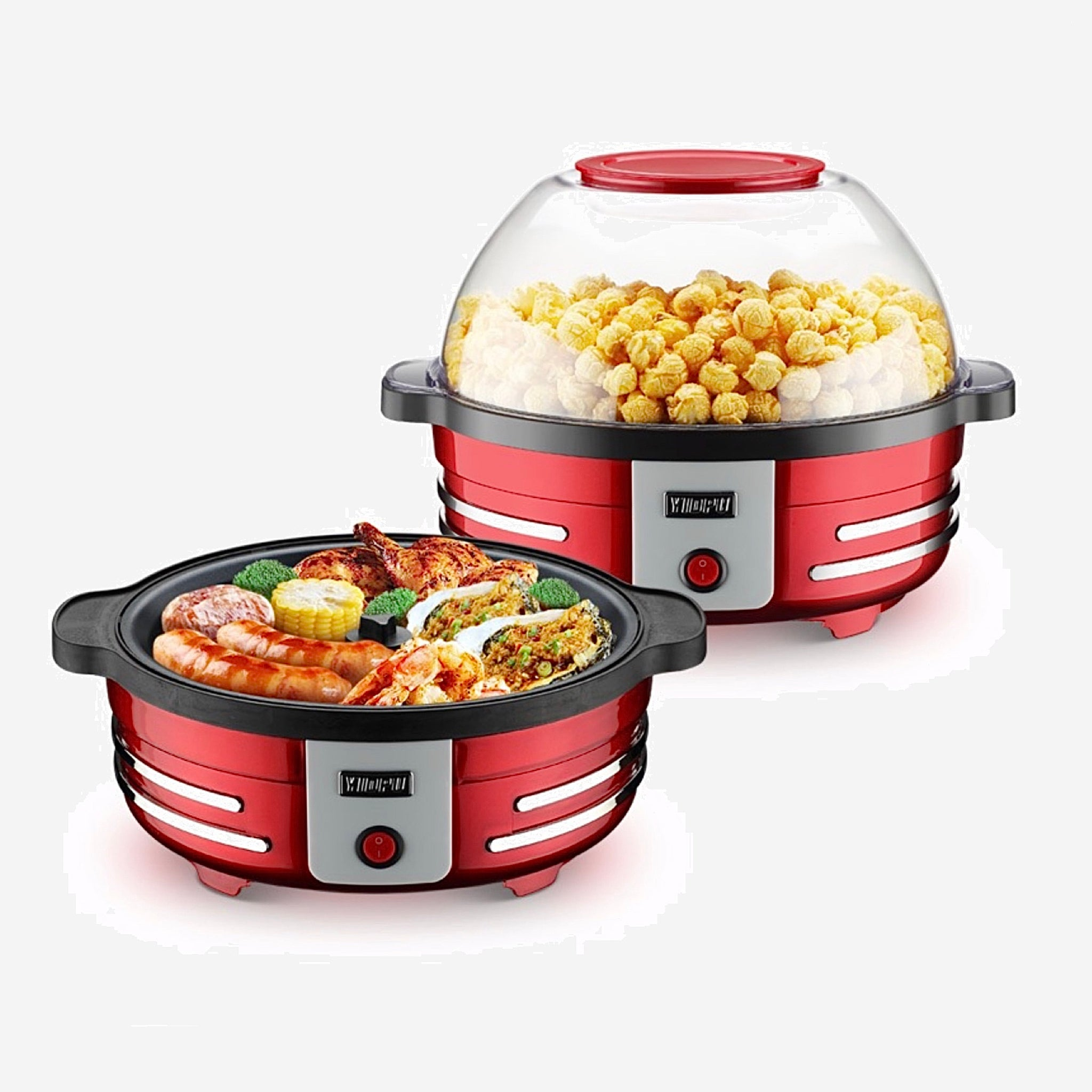 2-in-1 Popcorn Maker BBQ Machine Fully Automatic Household Small 5L Electric Popcorn Machine Food Grade Non-stick Pot Party Corn Barbecue