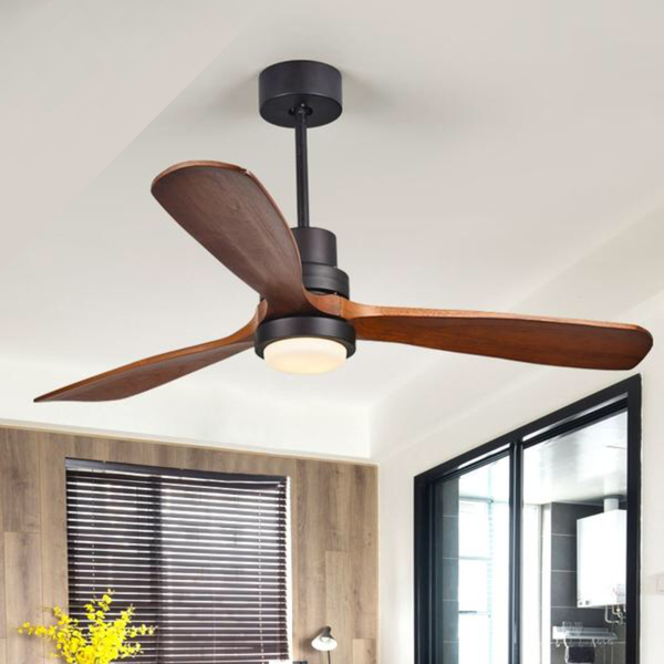 Black 220V LED Ceiling Fan 110V Wooden Ceiling Fans With Lights 52 Inch Blades Cooling Fan Remote Fan Lamp Air Conditioner Home Decor Furniture Accessories