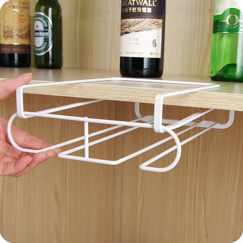 Practical 2 Row Under Cabinet Double Glass Stemware Rack Storage Organizer