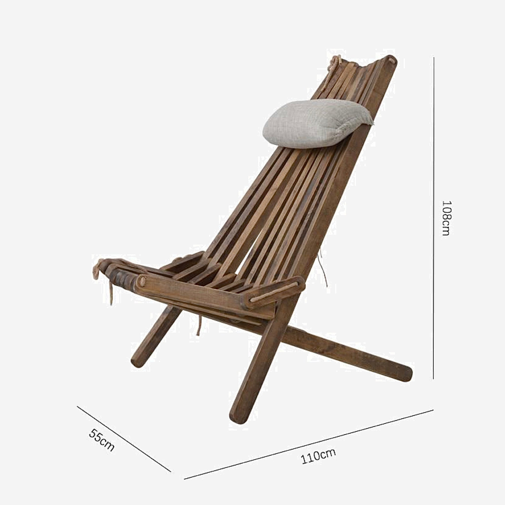 Wooden Lounge Chair with Pillow and Seat Cushion Foldable Outdoor Wood Folding Patio Balcony Outdoors Furniture Size Chart