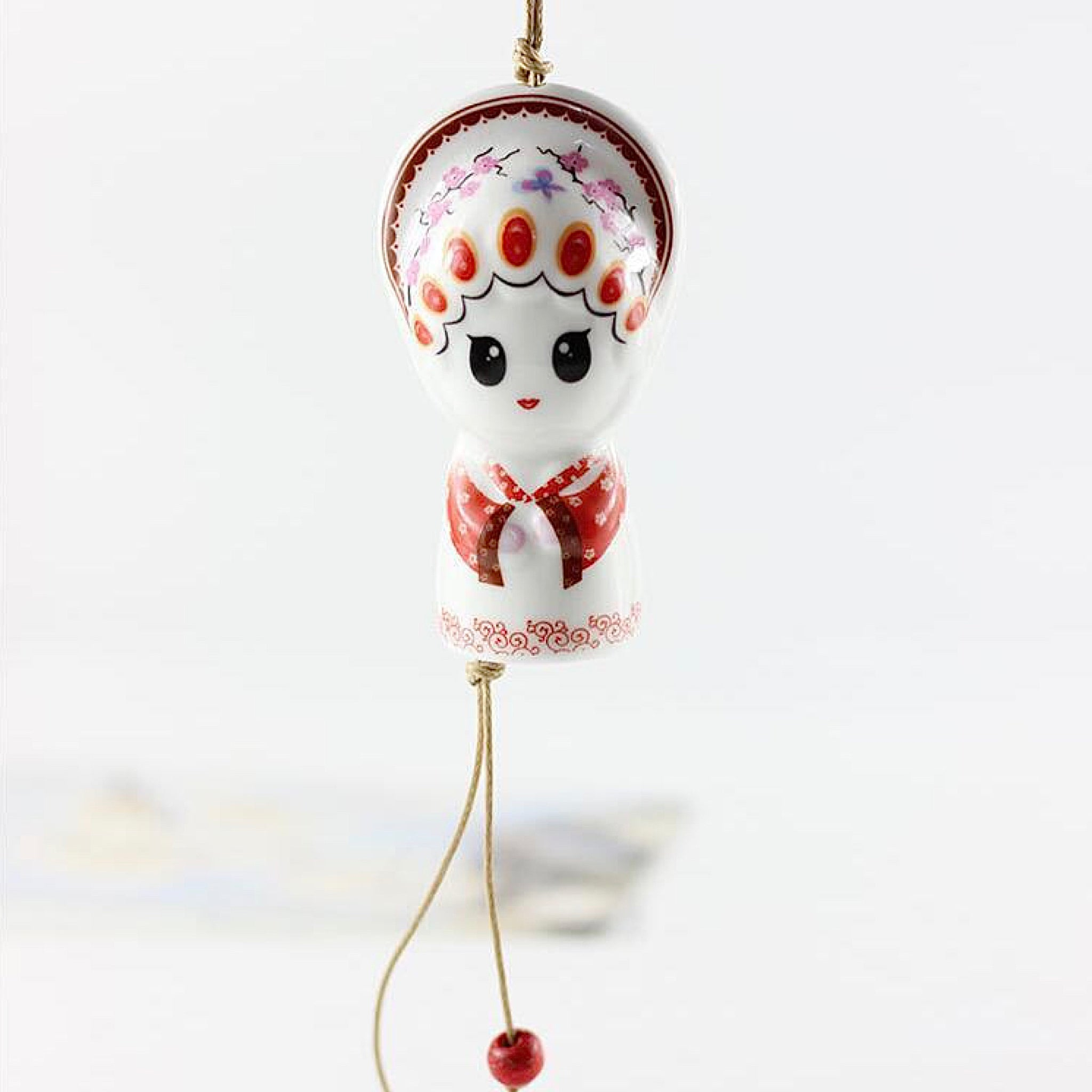 Ceramic Japanese Edo Wind Chimes Handmade Wind Bells Chime Hanging Decoration Window Pendant Japan Creative Gift Red Trend
