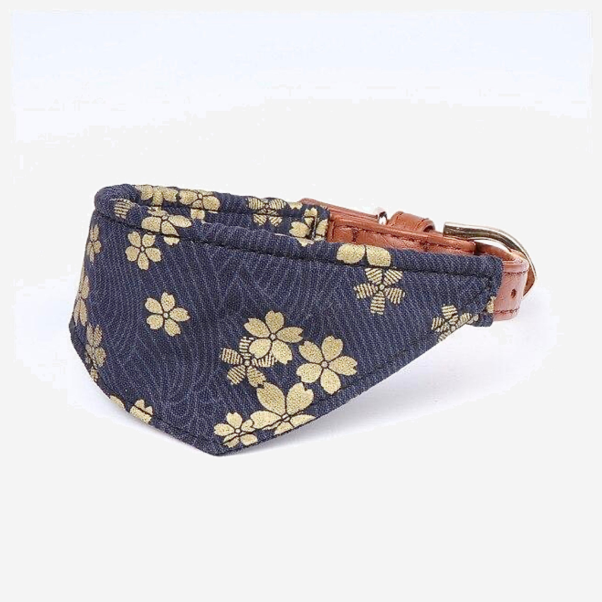 Japanese Bandana Pet Collar    Made of leather buckle design fine workmanship triangle scarf Japan pets supplies for cats and dogs Blue Cherry Blossom Trend
