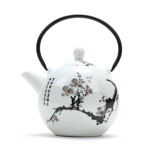 Japanese large capacity cherry blossom white ceramic teapot tea pot Japan tea set drinkware
