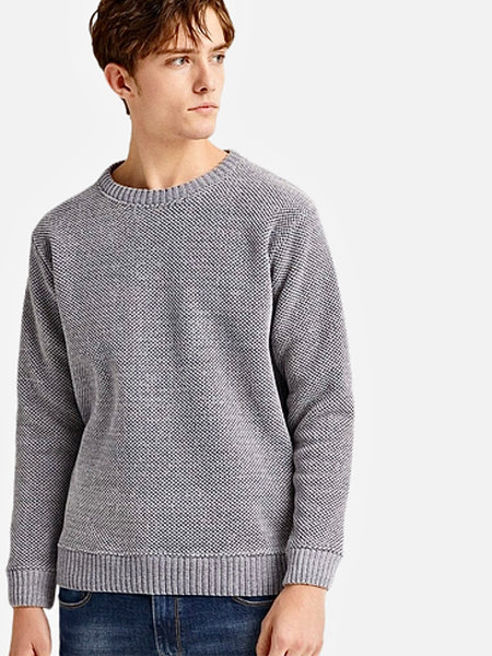 Crossover Crewneck Sweater      Casual Solid Light Gray / Grey color O-neck Warm Fleece Pullover Men's Sweaters Trend