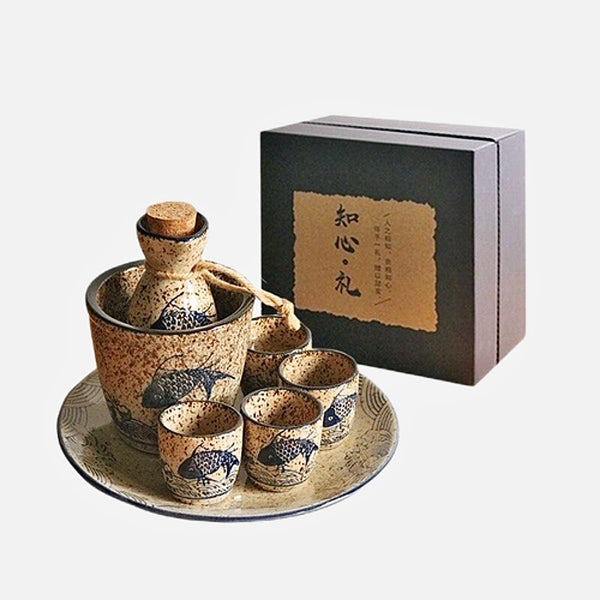 Japanese Sake Set       Creative Design Round Mini Sake Cups Set Drinkware Japan Gift Set Collection Trend