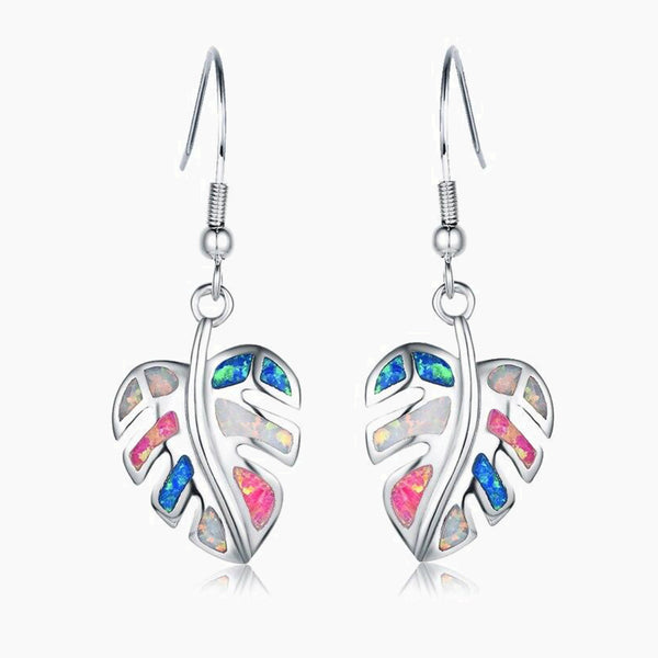 Rainbow Leaf Drop Earrings Jewelry Classic Fake Fire Opal Long Dangle Earrings Fashion Jewellery Trend Style