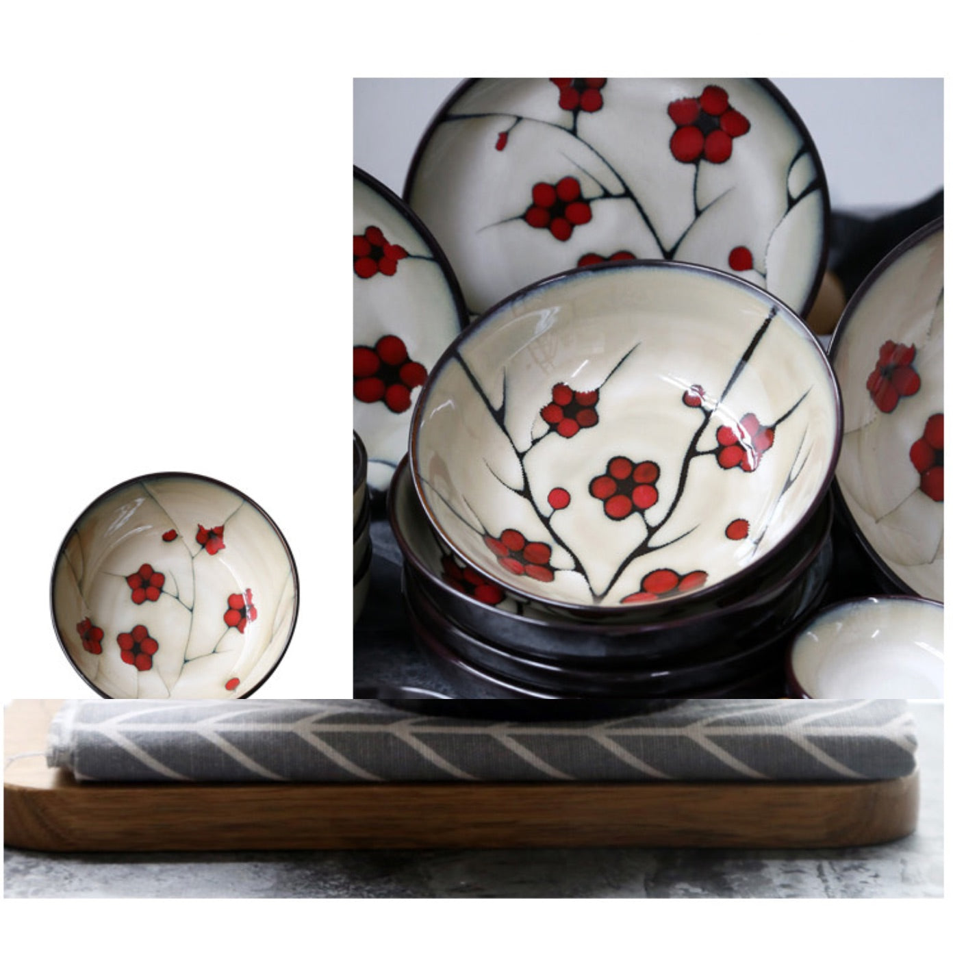 Japanese Red Plum Porcelain Tableware Japan On-Glaze Ceramic Dinnerware Dinner Sets JPN Style H