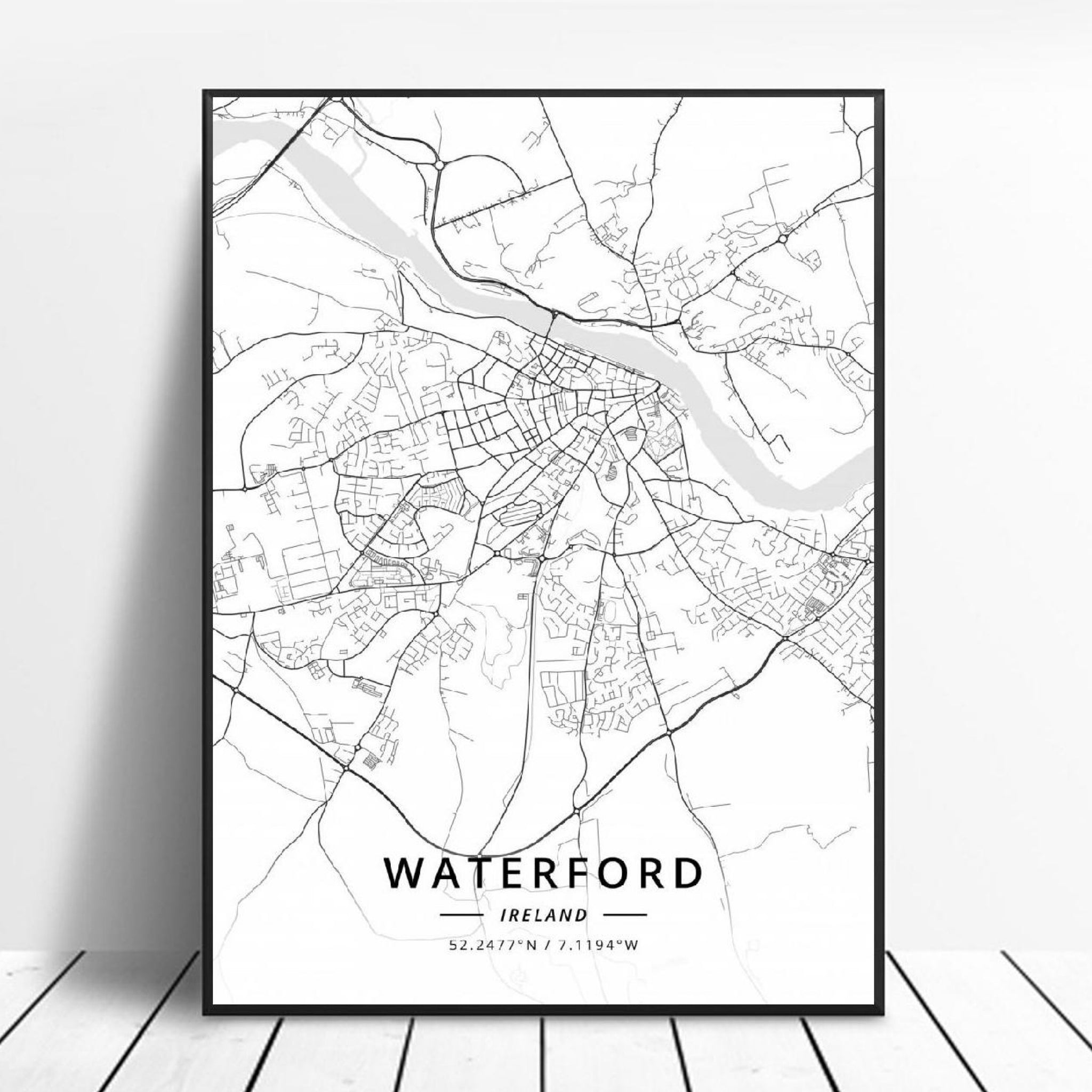 Waterford Ireland Canvas Art Map Poster Irish Wall Art Home Decor Trend