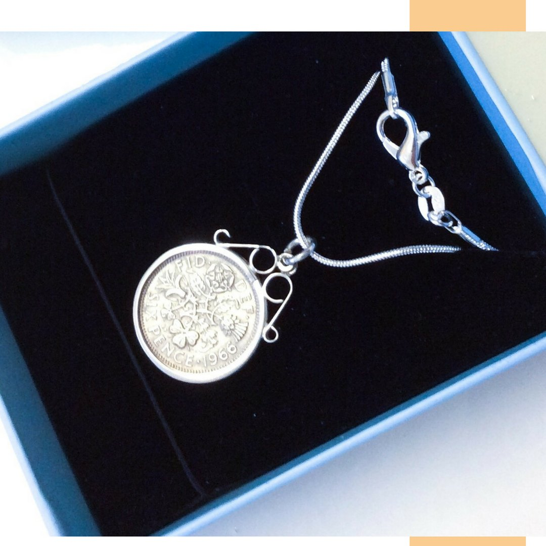 British Lucky Sixpence Coin Pendant Necklace Choose your year - 未定義 miTeigi