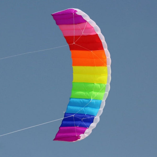 Multicolor Rainbow Dual Line Kitesurfing Stunt Parachute Soft Parafoil Surfing Kite Sport Kites Large Outdoor Beach Multicolour Flying Kite Trend
