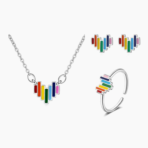 Colorful Rainbow Love Heart Jewelry Set 925 Sterling Silve Necklace Earring Ring Wedding Party Exquisite Jewellery Sets Trend
