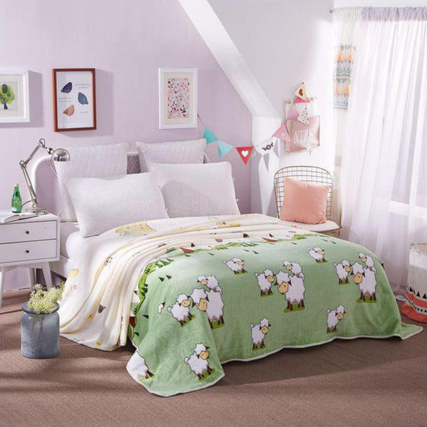 Soft Warm Sheep Characters Blanket Throw Plush Thick Fleece Blankets for Sofa Bed Bedroom Home Decor Furnishing Trend