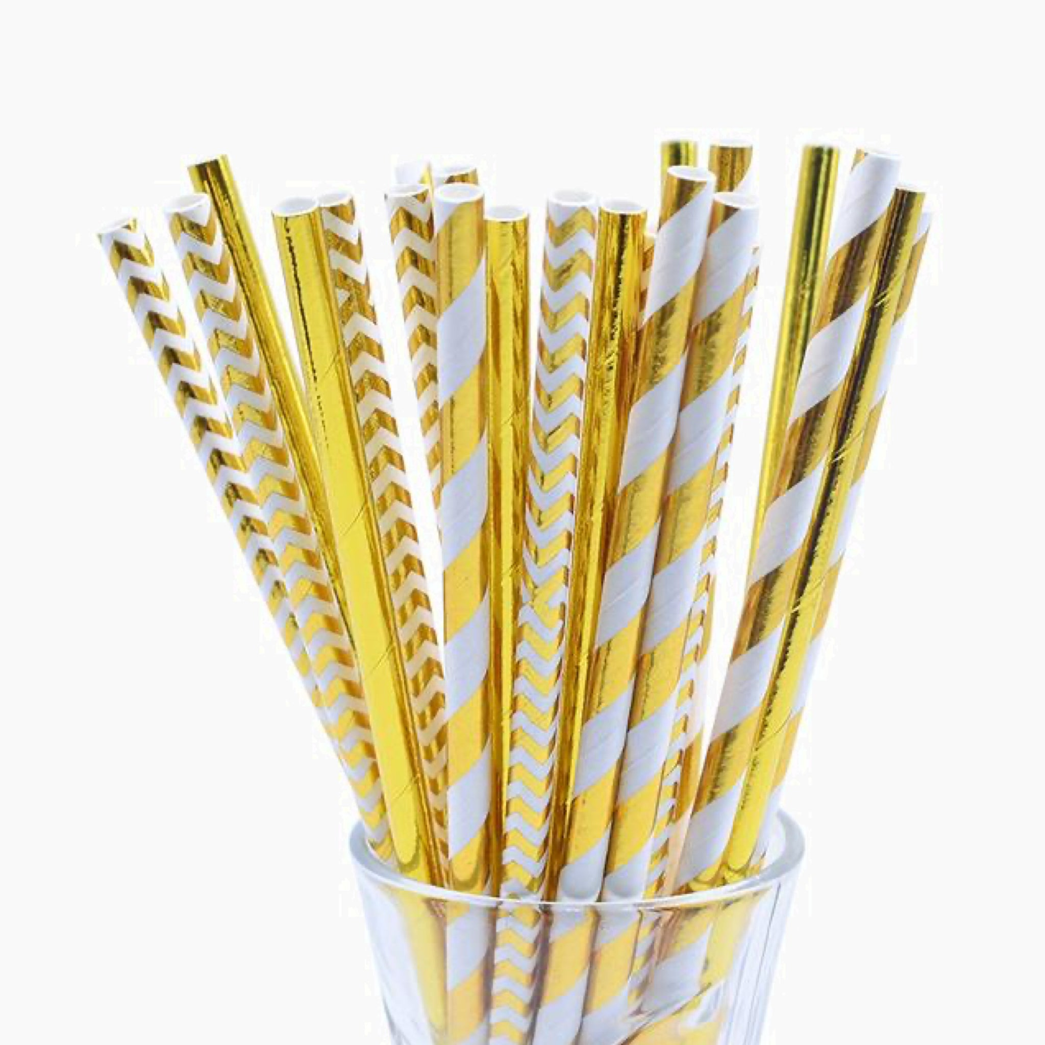 25 Piece Mix Yellow White Gold Paper Straw Stripe Drinking Chevron Straws For Wedding Birthday Party Decoration Baby Shower Supplies Trend