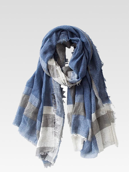 Oblong Scarf   British boho style winter fashion blue cotton bohemian scarves Trend