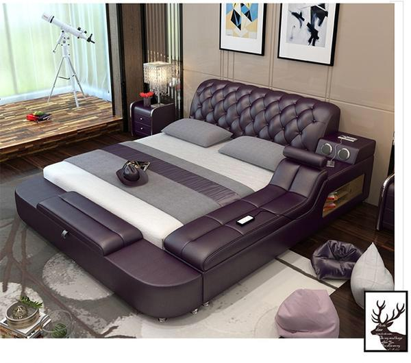 Leather Massager Bed Unit Bedroom Furniture