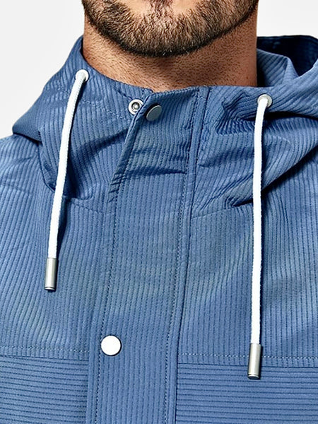 Nood Collar Hooded Jacket   Casual Blue Hooded with Zipper Plus Size Men's Jacket and Coat Fashion Streetwear Outerwear Trend