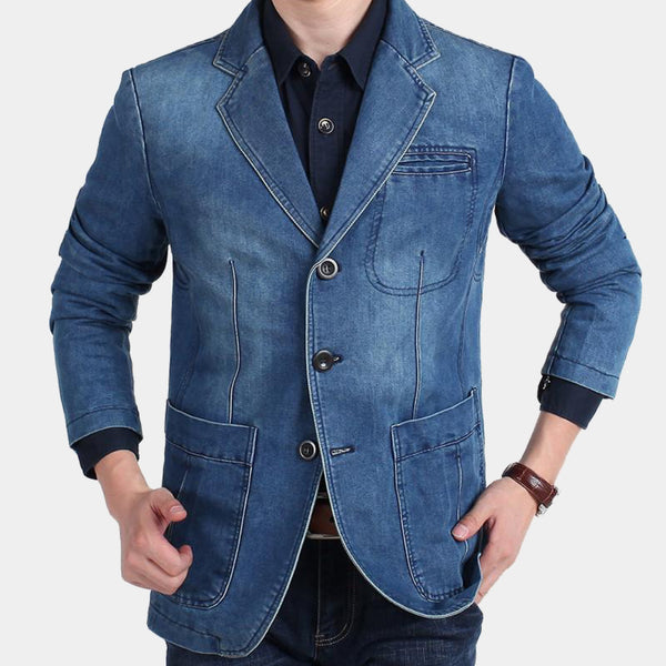 Mens Light Blue Denim Blazer Cotton Cowboy jeans jacket Man M-4XL Plus Size Fashion Apparel Trend