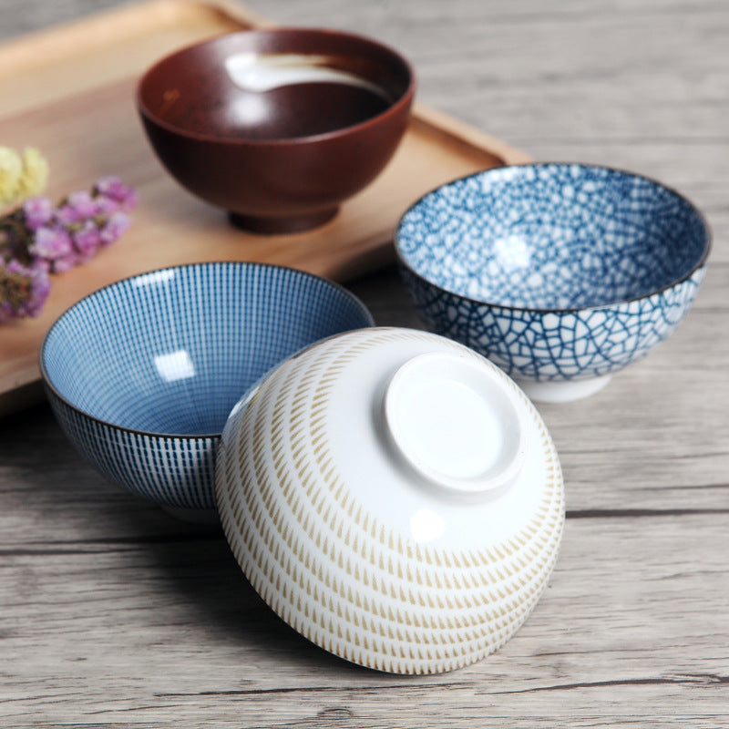 4 Piece Traditional Japanese Ceramic Dinner Bowls Set Design B