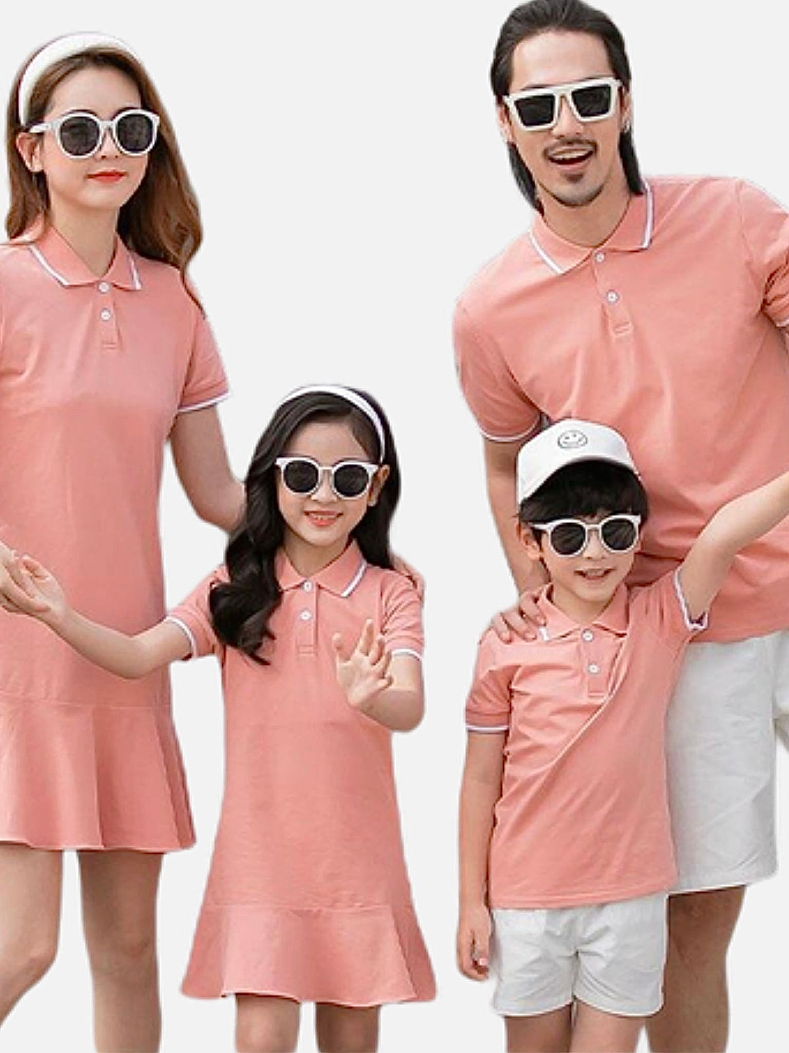 Family Match Outfits   Women girl peach dress mother daughter dresses mens boy father son peach T-Shirts white shorts pants Matching clothing Trend