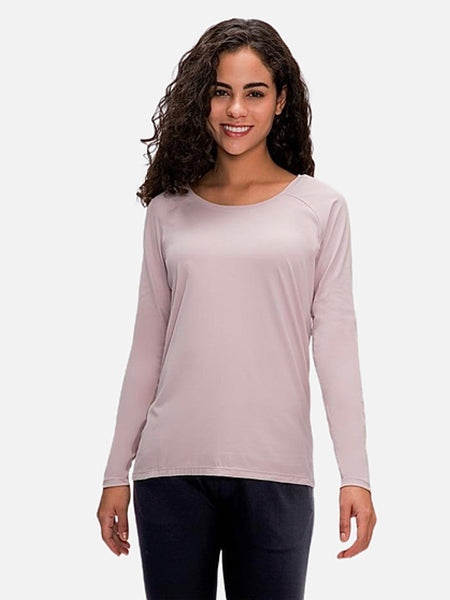 miFit QuickDry Boatneck T-Shirt     Long sleeved dark powder pink color breathable lightweight loose quick dry naked-feel fabric Skin friendly Workout Yoga Running Sport Tops Women's T-Shirts Sportswear Trend