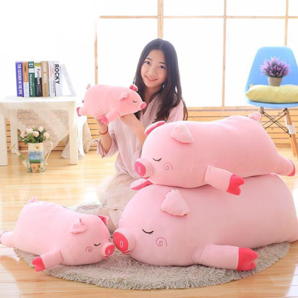 Elegant 80cm / 100cm Cartoon Pink Pig Plush Doll Toy Chinese Zodiac Pigs Dolls Soft Fat Pig Pillow Cushion Kids Baby Birthday Gifts Bedroom Accessories