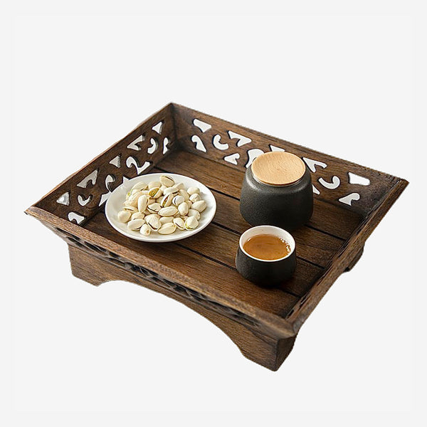 Retro Japanese Wooden Serving Tray Wooden Food Plate Table Wood Fruit Snack Candy Coffee Japan Ornamental Storage Trays for Home Kitchen Decor Trending