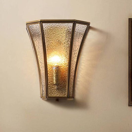 American copper frame geometric glass wall lamp for bedroom corridor study luxury living room decoration gold wall sconces light Home Decor Lighting