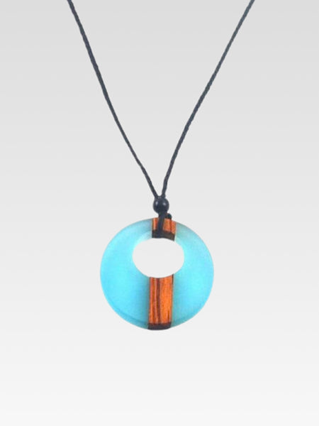 Handmade Necklace     Trendy wood adjustable rope chain blue circular necklace jewelry for women and men Trend