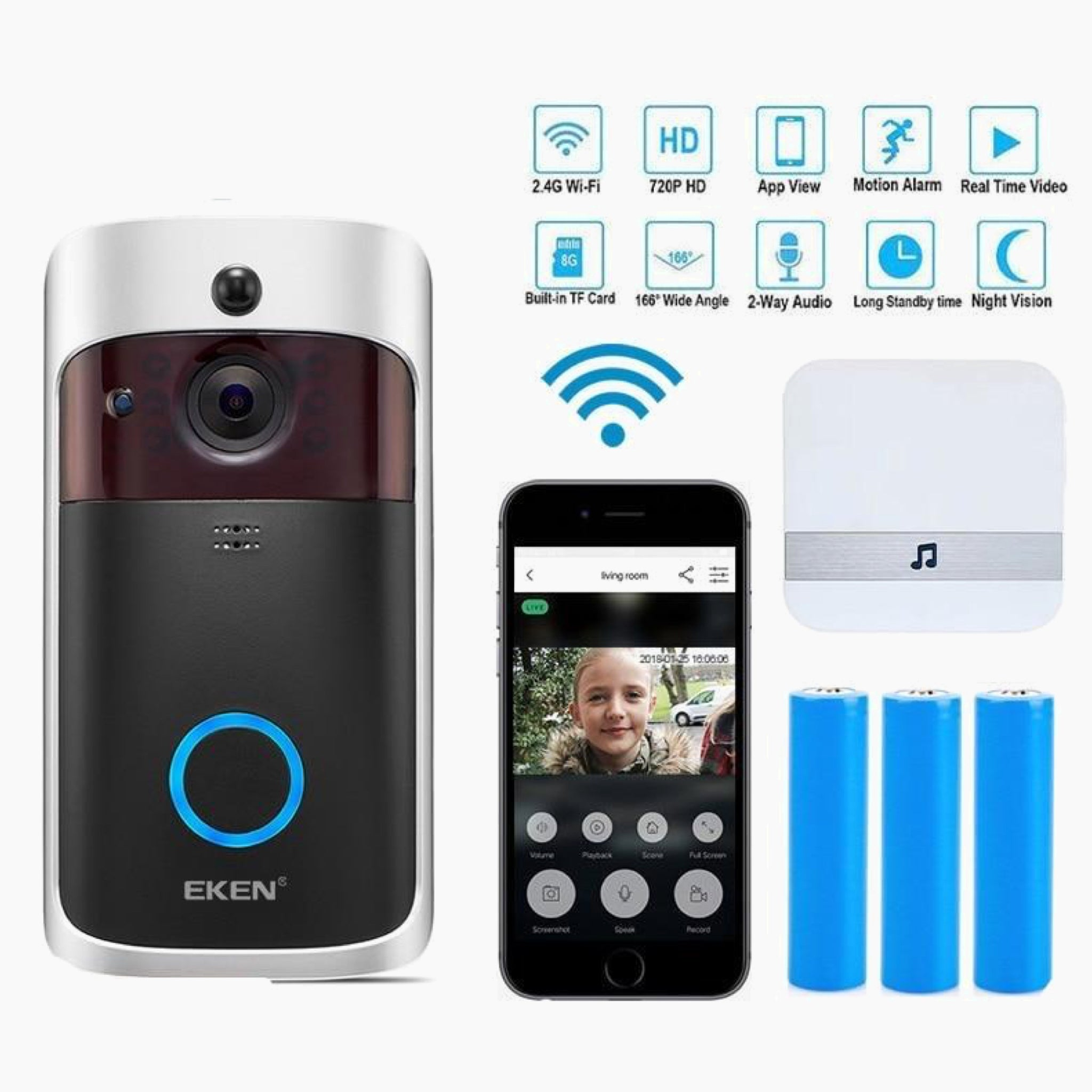 WI-FI Video Door Phone Door Bell Smart IP Video Intercom WI-FI Video Door Phone Door Bell WIFI Doorbell Camera For Apartments Homes Office IR Alarm Wireless Security Camera Trend